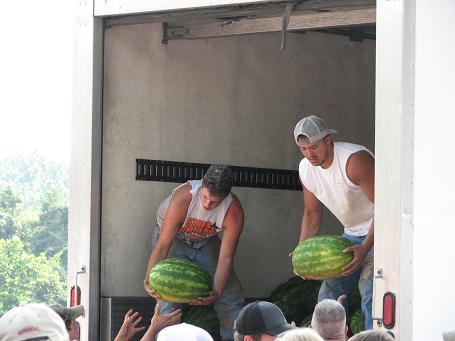 Watermelons unloaded for the Watermelon Feed