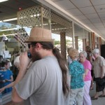 Folks working their way in to Bread of Life Book Store