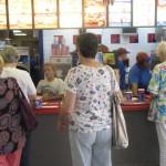 Folks line up to order