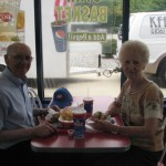 Fred and Betty Arnold take time out for lunch
