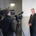 Governor Mike Beebe talks with reporters