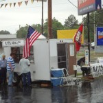 Lots of rain but folks keep coming out to the celebration