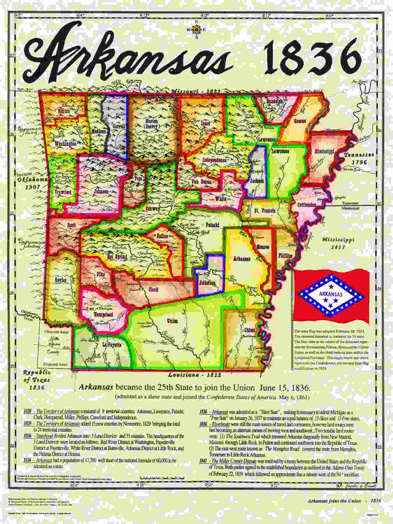 june 15 1836 Arkansas became the 25th State of the United States of America