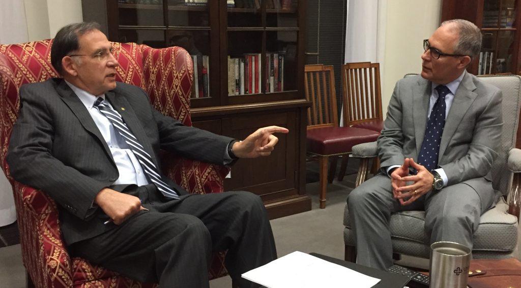 (Pictured: U.S. Senator John Boozman (R-AR) meets with EPA Administrator Nominee Oklahoma Attorney General Scott Pruitt)