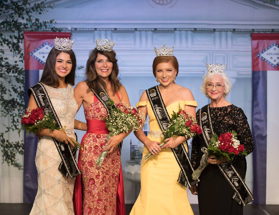 2017 Arkansas State Fair Queens (from left to right): Junior Miss Emily McGuire (from Mayflower), Mrs. Lawrie Music (from Heber Springs), Miss Kara Dickens (from Cedarville) and Senior Mrs. Corrine Weatherly (from Clinton).