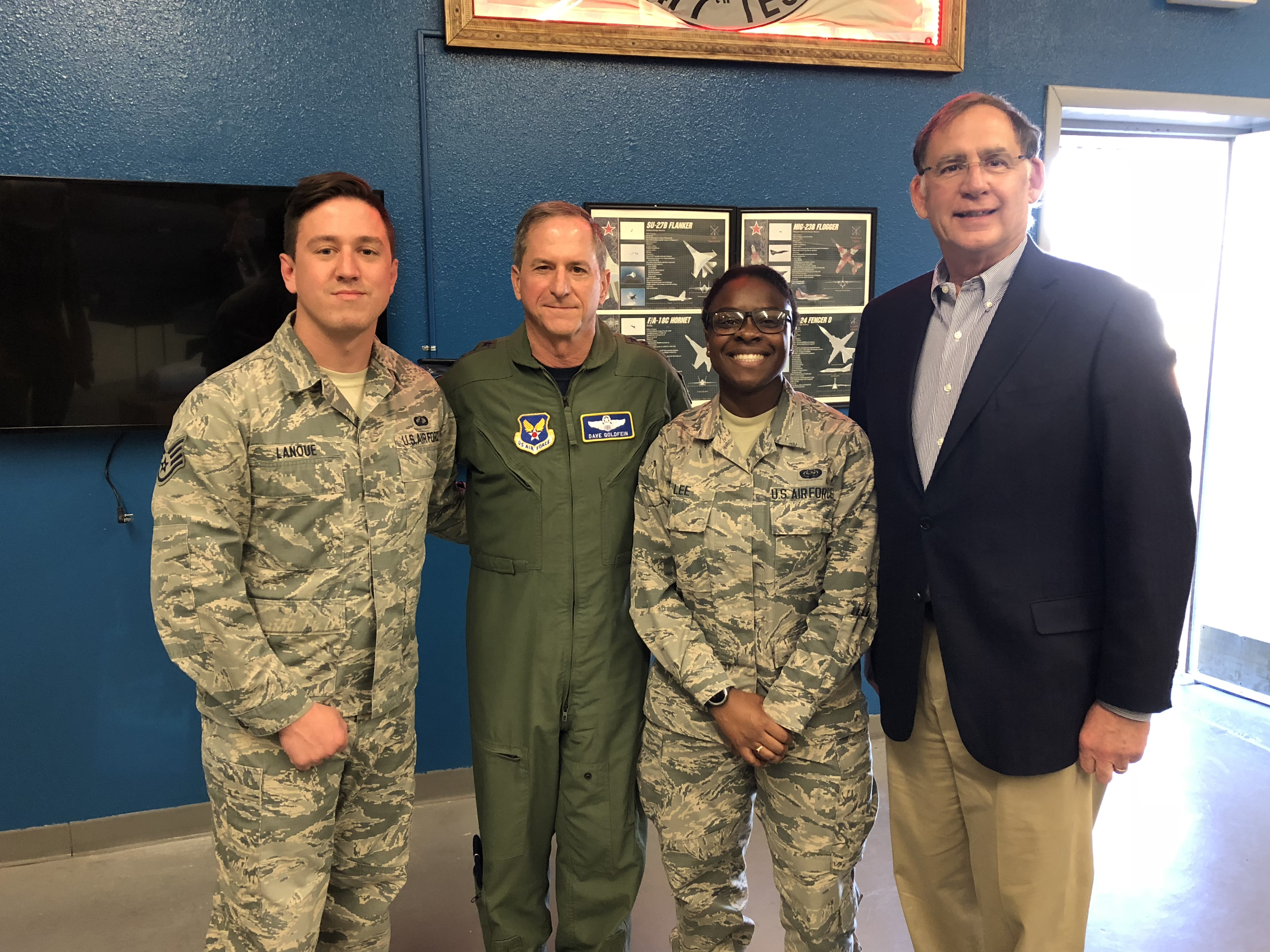 Senator Boozman and Air Force Chief of Staff Gen. David Goldfein with Arkansans stationed at Nellis Air Force Base.