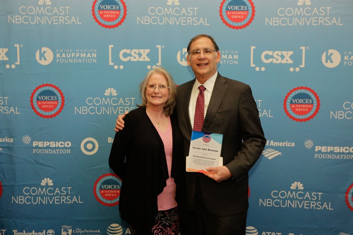 (Pictured: U.S. Senator John Boozman is joined by Denise Grace, director of RSVP of Central Arkansas, who nominated him for the Distinguished Service Award that was presented at the 16th Annual Friends of National Service Awards in Washington, DC.)