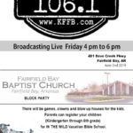 Join Timeless 106.1 KFFB at Fairfield Bay Baptist Church'S Block Party Sunday June 2nd