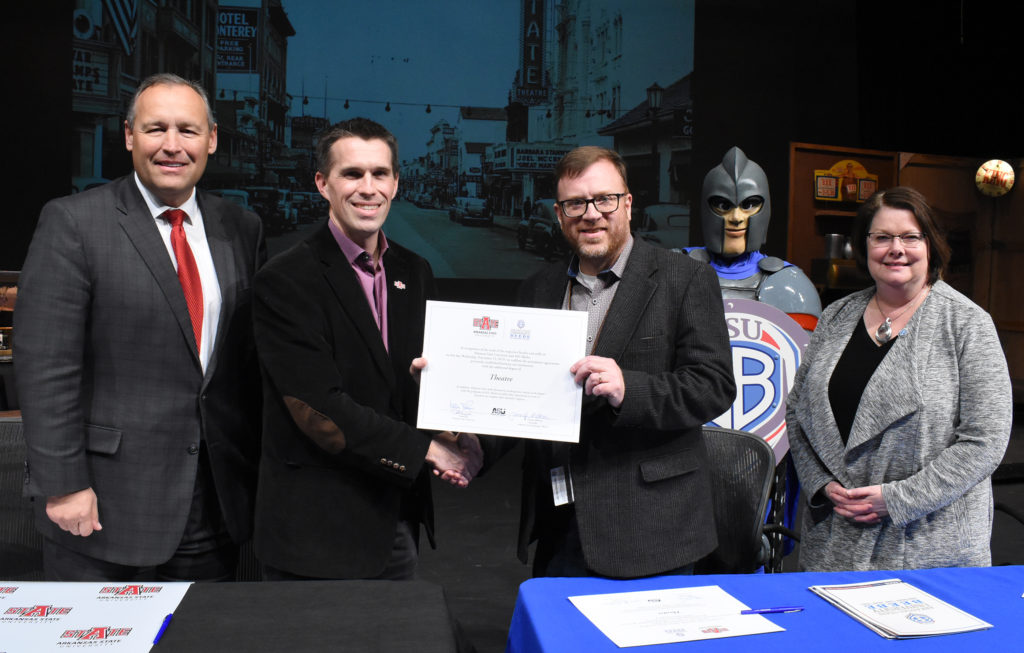 Participants in the signing ceremony at ASU-Beebe included (from left) Dr. Kelly Damphousse, Marc Williams, Ryan Gibbons and Dr. Jennifer Methvin.